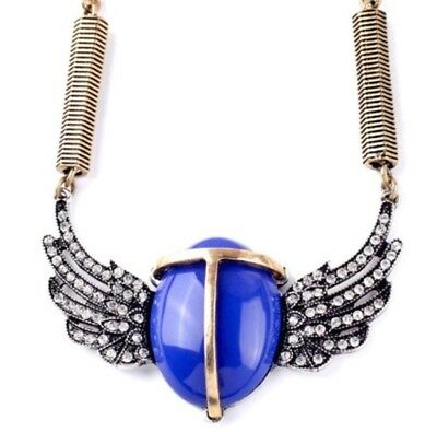 BLUE EGYPTIAN SCARAB BEETLE Crystal Rhinestone Gold Silver Statement Necklace