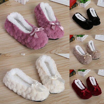 Women Plush Warm Slippers Indoor Non-slip Shoes Plush Flock Winter Soft Slippers
