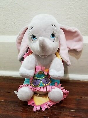 "Disney Parks Babies Baby 10"" Dumbo Elephant Stuffed Plush Doll & Blanket"
