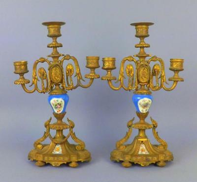 Antique French Sevres Handpainted Porcelain and Bronze Candelabrum Set