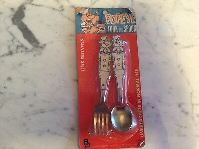 Vintage Arrow Child's Popeye Fork & Spoon Set Stainless Steel New Sealed on Card