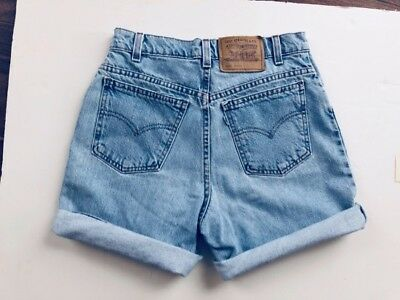 VTG 80s 90s High Waisted LEVIS REDONE Cut Off Jean Shorts Faded MoM JEANS 27 XS