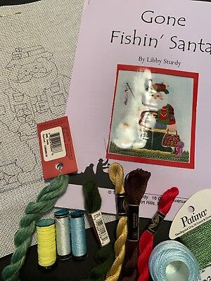 """Libby Sturdy Needlepoint kit for """"Gone Fishing"""" Santa with guide and threads"""