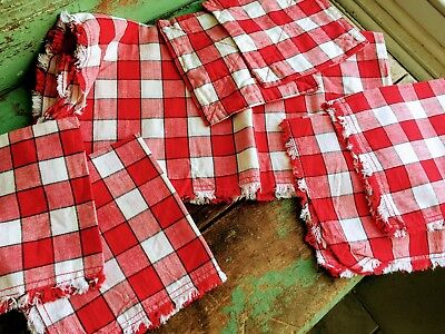 Vintage 1930's Luncheon Tablecloth and Napkins Feedsack fabric Red White Check
