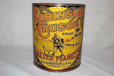 Large Vintage Robinson Crusoe Salted Peanuts Nuts Metal Tin Can Sign