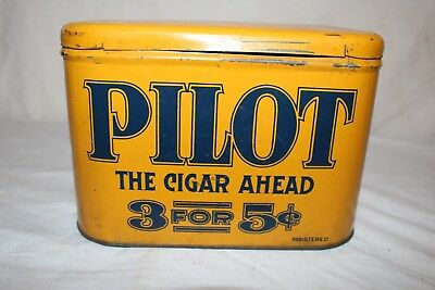 Vintage c.1900 Pilot The Cigar Ahead 3 For 5c Metal Tobacco Tin Can Sign