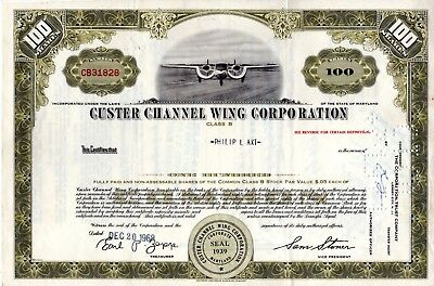 Custer Channel Wing Corporation 1969 Stock Certificate - Aircraft Manufacturer