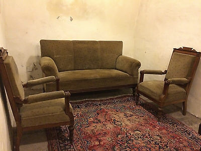 Victorian (German Gründerzeit) Sofa and 2 Chairs Ready for Restoration