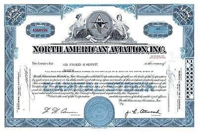 North American Aviation Incorporated 1960s Stock Certificate