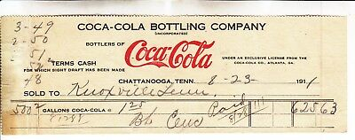 Coca-Cola  Bottling Company  Receipt Chattanooga, Tenn. Dated 8-23-1911