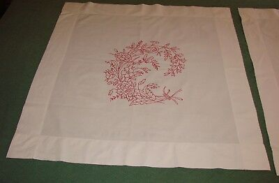 2 Antique Linen Turkey Red Embroiderred Overlay Pillow Shams - Matching