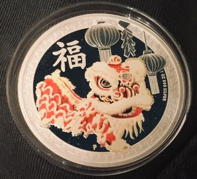 2015 Australia Silver 1oz Chinese DRAGON LION DANCE New Year $1 proof