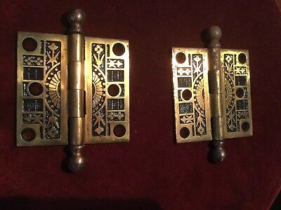 "Vintage Antique cast Ornate Victorian Door Hinges 3"" X 3"" Set"
