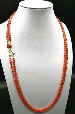 Sardinian red coral necklace on 925 sterling silver in women's gold jewelery