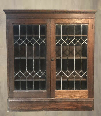 Antique Oak & Leaded Glass China Cabinet Display case Bookcase Local pickup only