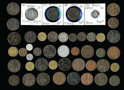 46 OLD UK COINS & SOME TOKENS (PLENTY of COLLECTIBLES) SEE PICTURES > NO RSRV
