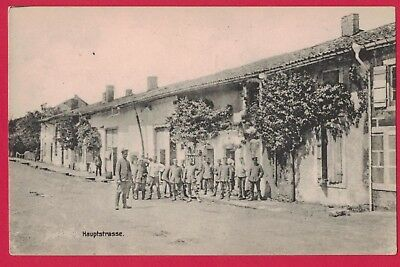 0618H  Hauptstrasse Germany Vintage Pc Street Building Soldiers