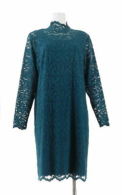 Isaac Mizrahi Lace Mock-Neck Knit Dress Deep Sea Blue XL NEW A343265