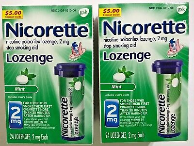 Nicorette Nicotine Lozenges 2 mg Mint 24 Count  2mg  Exp. 12 /2018 Lot of 2