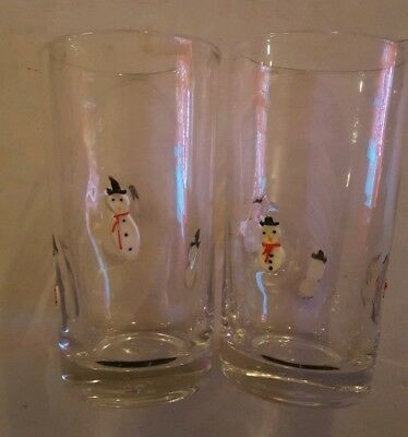 Vintage Large Hand Blown Glass Snowman Tumblers Set of 2