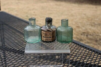 Three Early Glass Sheared Neck Ink Wells Applied Lips Aqua Tarling's Blue Ink