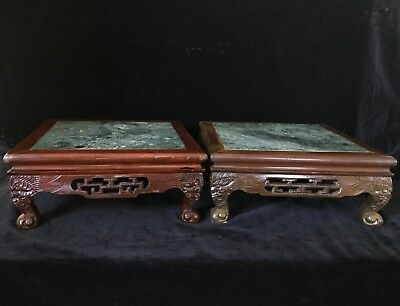 Pair Chinese Antique SQUARE LOW TABLES STANDS CARVED WOOD & GREEN BRECHE MARBLE