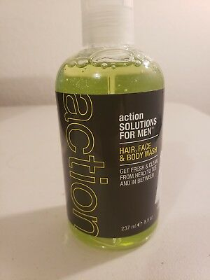 Action Solutions for Men All Over Hair/Face/Body Wash, Light Citrus, 8 Fluid