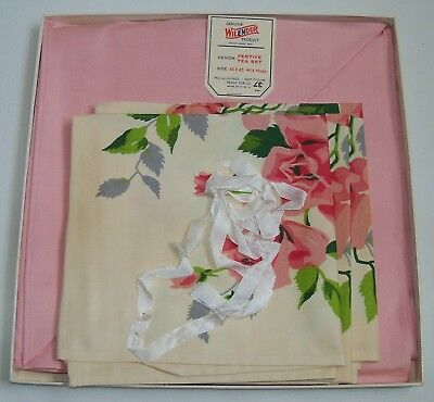 Vintage Wilendur Pink Floral Tablecloth in Original Gift Box + Matching  Napkins