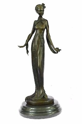 Solid Brass/bronze Antique Victorian Woman Sculpture Statue..great Detail/patina