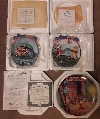 "Lot of 3 Bradford Exchange Winnie the Pooh Plates.  Two 3D and ""Hello Pooh"""