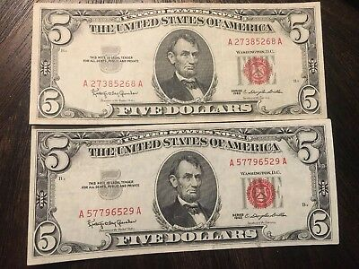 2- 1963 5$ Red Seal Notes In VERY FINE condition