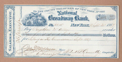Governor John Hoffman - Autographed Signed Bank Check - Co-Signers - 1867