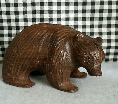 Wood Bear Carving, Dark Brown Wild Animal, Cabin Lodge Decor, Forest Woodland