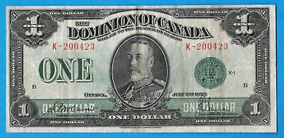 $1 1923 Dominion of Canada Note Green Seal DC-25d - Crisp VF