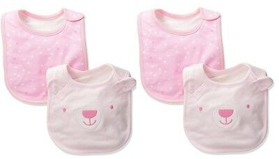 LOT OF 4 THE CHILDREN'S PLACE Girl's Soft Bibs BEAR HEARTS PINK One Size