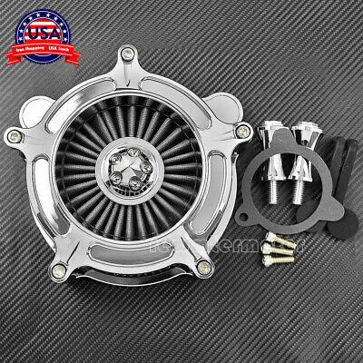 Chrome Air Cleaner Gray Intake Filter For Harley Touring Trike 08-16 Softail 16