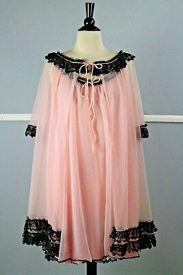 Vintage Pale Pink Lingerie Nightie Teddie Lace Lined Negligee with Attached Slip