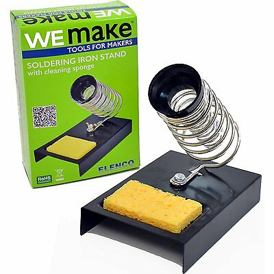 NEW ELENCO Pencil Style Soldering Iron Holder Cleaning Sponge Dual Coiled Spring