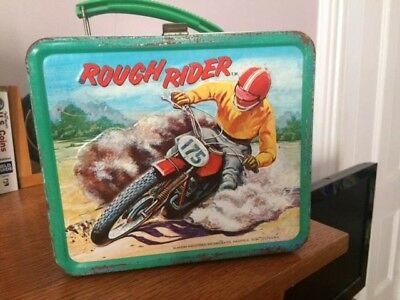 Vintage Rough Rider Aladdin Metal Lunchbox Rare Motocross