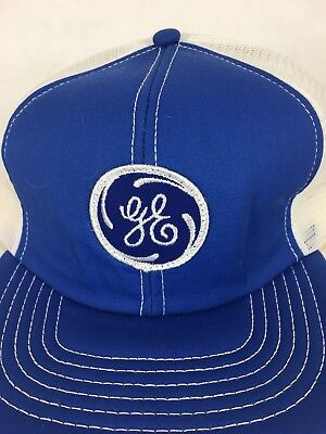 Vintage GE General Electric Trucker Hat Brand New Blue White Snap Back Made USA