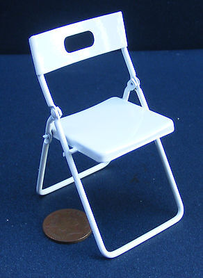 1:12 Scale White Painted Metal Folding Chair Tumdee Dolls House Miniature 230