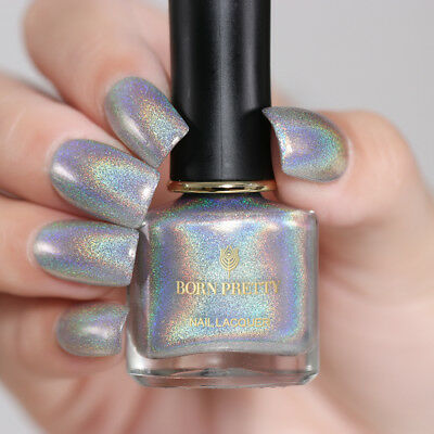 6ml BORN PRETTY Holographic Nail Polish Silver Laser Glitter Nail Art Varnish
