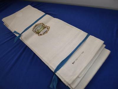 Set 12 Irish Old Bleach Linen  Show Shaving Towels  New Old Stock W Tags
