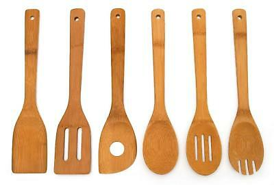 """6 Piece Wooden Cooking Spoons Set 12"""" Utensil Bamboo Wood Spatula Kitchen Mix"""