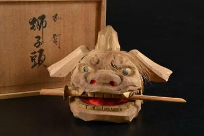 G4195: Japanese Wood carving Lion STATUE sculpture Ornament w/signed box