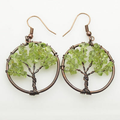 Natural Peridot Chip Beads Tree of Life Copper Round Pendant Hook Earrings