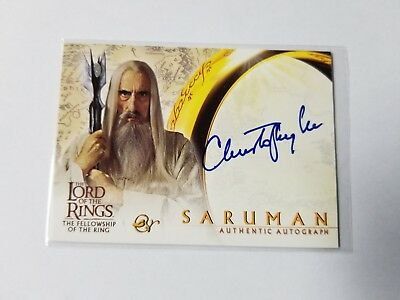 Topps Lord of the Rings LOTR Saruman CHRISTOPHER LEE Autograph Card FOTR 2001