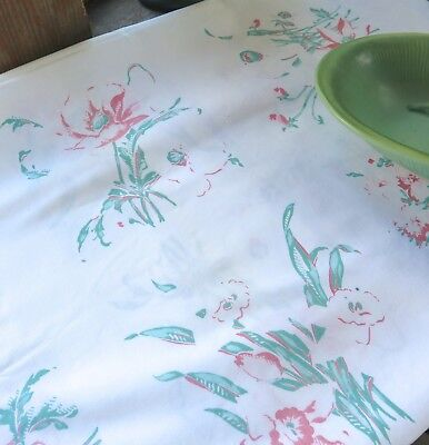 Vintage 1950's Cotton Print Tablecloth white , Mint Green and Red