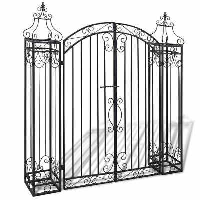 "Heavy Duty Wrought Iron Metal Arched Scroll Tall Garden Gate 4' x 8"""" x 4' 5"""""