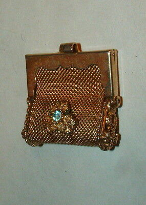 LATE 1800s OR EARLY 1900s ANTIQUE  GOLD MESH METAL WITH JEWEL  COIN PURSE
